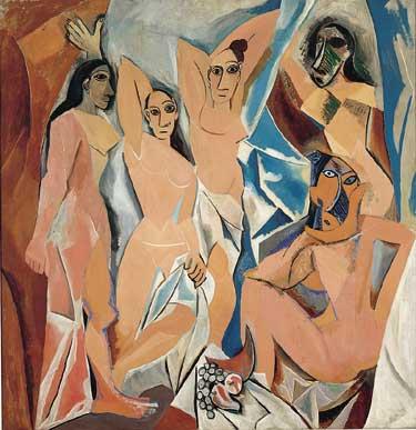 Pablo Picasso. Les Demoiselles d'Avignon. Oil on Canvas (244 x 234 cm).